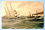Click to view larger image of Two Ships on Rough Waters Postcard (Image1)