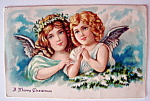 A Merry Christmas Postcard w/Two Angels (Embossed)