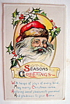 Seasons Greetings with Santa Claus Postcard