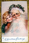 Christmas Greetings Postcard w/Santa Claus & Young Girl