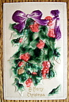 A Merry Christmas Postcard w/Mistletoe (Embossed)