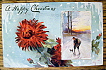 A Merry Christmas Postcard w/Boy Walking in Snow