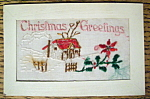 Christmas Greetings Postcard with House (Embossed)