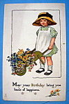 Click here to enlarge image and see more about item 10780: Birthday Children Postcard By Tuck w/Girl & Flowers