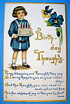Birthday Children Postcard By Tuck w/Child Holding Cake