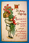 Click here to enlarge image and see more about item 10786: Birthday Children Postcard (Child Holding Bouquet)
