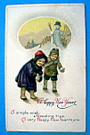 Happy New Year Postcard with Children & Snowman