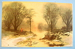 Click to view larger image of A Prosperous New Year Postcard with Wooded Scene (Image1)