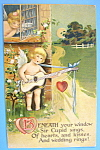 Valentine's Wishes Postcard with Boy Singing to Girl