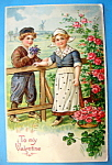 To My Valentine Postcard with Boy Giving Girl Flowers