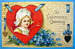 St. Valentine's Greeting Postcard with Girl's Face