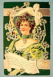 Click here to enlarge image and see more about item 10826: St. Patrick's Day Postcard with Woman in Green
