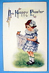 A Happy Easter Postcard with Girl & Butterfly