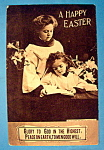 A Happy Easter Postcard with Girls Reading Book