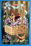 Click to view larger image of A Joyful Eastertide Postcard with Roosters & Chicks (Image1)