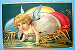 Easter Greetings Postcard w/Angel Coming Out of Egg