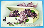Click to view larger image of A Happy Easter Postcard w/Box of Flowers By Clapsaddle (Image1)