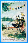 Easter Greetings Postcard w/Rabbit Driving a Carriage