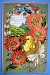 Click to view larger image of Best Easter Wishes Postcard with Chick in Egg & Flowers (Image1)