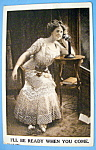 Click here to enlarge image and see more about item 10887: Woman In Waiting Postcard