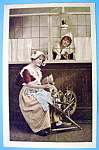 Click to view larger image of Woman On A Spinning Wheel Postcard (Image1)