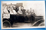 Click here to enlarge image and see more about item 10999: Riverview Park 3 Couples In A Car Picture Postcard