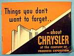 1933 Century Of Progress, Chrysler Brochure