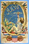 Click here to enlarge image and see more about item 13201: Postcard Of Fourth Of July (Very Colorful & Embossed)