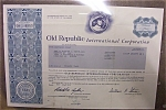 Click here to enlarge image and see more about item 1340: Stock Certificate - 1985 Old Republic International