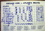 Click to view larger image of Chicago Cubs vs. Atlanta Braves Scorecard August 1973 (Image6)
