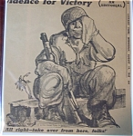 Click here to enlarge image and see more about item 1624: Political Cartoon - August 15, 1945 Soldier of Victory
