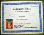 Click here to enlarge image and see more about item 16590: A Date In Time $50 Gift Certificate