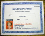 Click here to enlarge image and see more about item 16593: A Date In Time $250 Gift Certificate