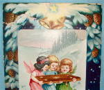 Click to view larger image of Christmas Greetings Postcard With Three Little Angels (Image4)