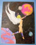 Angel Glide Drawing Original Nude Fantasy J. C. Pond