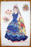 Click to view larger image of Espana Postcard-Fabric Overlay-Lovely Senorita (Image1)