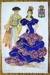 Click to view larger image of Andalucia Postcard-Fabric Overlay-Spanish Woman & Man (Image2)