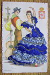 Click to view larger image of Andalucia Postcard-Fabric Overlay-Spanish Woman & Man (Image1)