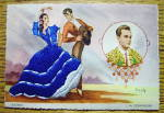 Click to view larger image of Bulerias Postcard-Fabric Overlay-Man & Woman Dancing (Image1)