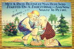 Click to view larger image of A Man Tying A Woman's Shoe Postcard (Image1)