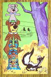 Yogi Bear & Boo Boo with Totem Pole Postcard