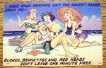 Man Pampered On Beach By Three Women Postcard
