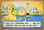 Men Staring At A Woman In Ocean Postcard
