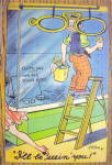 Man Cleaning Windows But Checking Out Woman Postcard