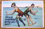 Man And Woman Swimming & Bumping Rears Postcard