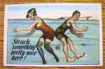 Click to view larger image of Man And Woman Swimming & Bumping Rears Postcard (Image2)