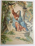 Click here to enlarge image and see more about item 451: 1890's Elijah Being Fed By The Birds