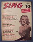 Click here to enlarge image and see more about item 4117: Sing Magazine - November 1949 - June Haver Cover