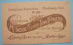 1893 Columbian Exposition McIndoe Brothers Trade Card