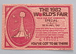 Click here to enlarge image and see more about item 7042: Knoxville World's Fair Ticket-1982-One Day Admission